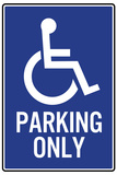 Handicapped Parking Only Plastic Sign Plastic Sign