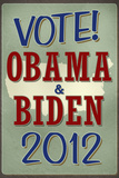 Vote Obama & Biden 2012 Retro Political Plastic Sign Plastic Sign