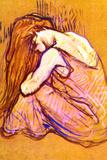 Henri de Toulouse-Lautrec Woman Combing Hair Plastic Sign Wall Sign by Henri de Toulouse-Lautrec