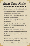Great Dane House Rules Humor Plastic Sign Plastic Sign