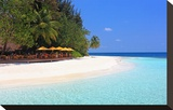 View towards the Angsana Ihuru Hotel, Ihuru Island, North Male Atoll, Maldives Reproduction sur toile tendue
