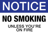 No Smoking Unless You're On Fire Notice Plastic Sign Wall Sign