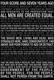 Gettysburg Address (Black) Text Prints