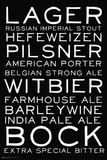 Beer Styles Black and White Posters