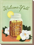 Welcome Y'all Ice Tea Stretched Canvas Print by  Anderson Design Group