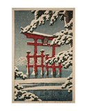 Miyajima in Snow (Yuki no Miyajima), 1929 Print by Kawase Hasui