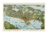 Map of Seattle, Washington, 1891 Giclee Print by A. Koch