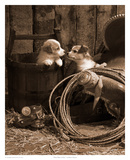 How Bout a Kiss Sepia Posters by Robert Dawson
