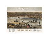 Bird's Eye View of Louisville, Kentucky, 1876 Giclee Print by A. Ruger