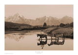 River Crossing II Sepia Art by Robert Dawson