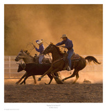 Roping on the Ranch II Art by Robert Dawson