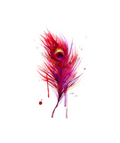 Peacock Feather Pink Giclee Print by Jessica Durrant