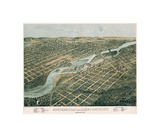 Minneapolis and Saint Anthony, Minnesota, 1867 Giclee Print by A. Ruger
