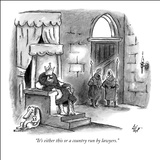 """It's either this or a country run by lawyers."" - New Yorker Cartoon Stretched Canvas Print by Frank Cotham"