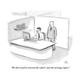 """""""We don't need to reinvent the wheel—just the earnings report."""" - New Yorker Cartoon Stretched Canvas Print by Paul Noth"""