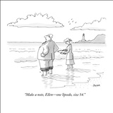 """Make a note, Ellen—one Speedo, size 54."" - New Yorker Cartoon Stretched Canvas Print by Jack Ziegler"