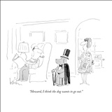 """Howard, I think the dog wants to go out."" - New Yorker Cartoon Stretched Canvas Print by Arnie Levin"
