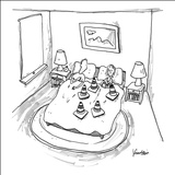 Man is blocked by woman's set of cones. - New Yorker Cartoon Stretched Canvas Print by Ken Krimstein
