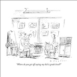 """Where do you get off saying my kid is grade level?"" - New Yorker Cartoon Stretched Canvas Print by Barbara Smaller"