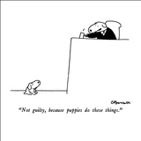 """Not guilty, because puppies do these things."" - New Yorker Cartoon Stretched Canvas Print by Charles Barsotti"