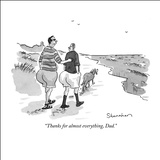 """Thanks for almost everything, Dad."" - New Yorker Cartoon Stretched Canvas Print by Danny Shanahan"
