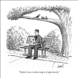 """Today's lesson is about targets of opportunity."" - New Yorker Cartoon Stretched Canvas Print by Tom Cheney"