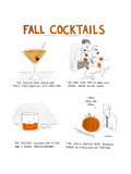 Fall Cocktails - Cartoon Giclee Print by Emily Flake