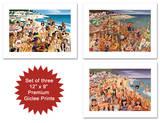 Vanity Fair - Hollywood's Malibu Beach Scene - Set of 3 Premium Giclee Print