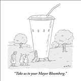 """Take us to your Mayor Bloomberg."" - New Yorker Cartoon Stretched Canvas Print by Kim Warp"