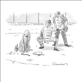 Dog at home plate with a leash in his mouth, waiting for pitcher to walk h… - New Yorker Cartoon Stretched Canvas Print by Danny Shanahan