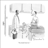 """You should relax less."" - New Yorker Cartoon Stretched Canvas Print by Danny Shanahan"