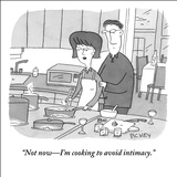 """Not now—I'm cooking to avoid intimacy."" - New Yorker Cartoon Stretched Canvas Print by Peter C. Vey"