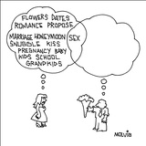 (Flowers, Dates, Romance, Propose, etc...) - New Yorker Cartoon Stretched Canvas Print by Ariel Molvig