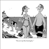 """You are my blue beach glass."" - New Yorker Cartoon Stretched Canvas Print by William Haefeli"