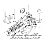 """I can no longer tell the difference between what's real football and what…"" - New Yorker Cartoon Stretched Canvas Print by David Sipress"