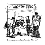 """Your magazine smells fabulous.  May I kiss you?"" - New Yorker Cartoon Stretched Canvas Print by Robert Weber"