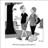 """We can't even agree on how cold it is."" - New Yorker Cartoon Stretched Canvas Print by William Haefeli"