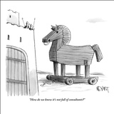 """How do we know it's not full of consultants?"" - New Yorker Cartoon Stretched Canvas Print by Christopher Weyant"