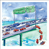 Red cars drop off a bridge under a sign that says Red Sox Fans.  The other… - New Yorker Cartoon Stretched Canvas Print by Michael Crawford