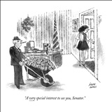"""A very special interest to see you, Senator."" - New Yorker Cartoon Stretched Canvas Print by Joseph Farris"