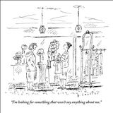 """I'm looking for something that won't say anything about me."" - New Yorker Cartoon Stretched Canvas Print by Barbara Smaller"