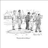 """The perp walks are killing us."" - New Yorker Cartoon Stretched Canvas Print by Danny Shanahan"