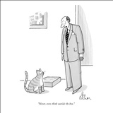 """Never, ever, think outside the box."" - New Yorker Cartoon Stretched Canvas Print by Leo Cullum"