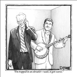 """""""I'm trapped in an elevator—wait, it gets worse."""" - New Yorker Cartoon Stretched Canvas Print by Matthew Diffee"""