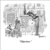 """Objection."" - New Yorker Cartoon Stretched Canvas Print by Liam Walsh"