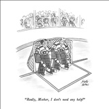 """Really, Mother, I don't need any help!"" - New Yorker Cartoon Stretched Canvas Print by Joseph Farris"
