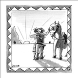 Cowboy shielding horse's eyes as he kisses a girl. - New Yorker Cartoon Stretched Canvas Print by Jack Ziegler