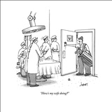 """How's my wife doing?"" - New Yorker Cartoon Stretched Canvas Print by Tom Cheney"
