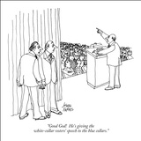 """Good God!  He's giving the white-collar voters' speech to the blue collars."" - New Yorker Cartoon Stretched Canvas Print by Joseph Farris"