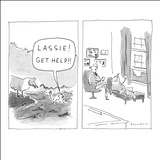 """Lassie! Get help!"" - New Yorker Cartoon Stretched Canvas Print by Danny Shanahan"